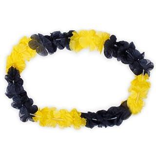 Alsino Hawaiiketten Blumenketten 24 Stück - Farbe: Schwarz, gelb - 50 cm Durchmesser