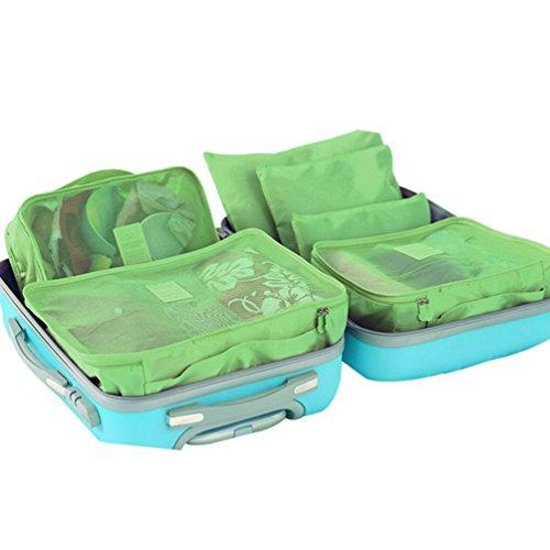 Dexinx Kleidertaschen Set 6-teilig Wasserdicht Netzgewebe Reisetasche in Koffer Wäschebeutel Kosmetik Aufbewahrungstasche Grün1