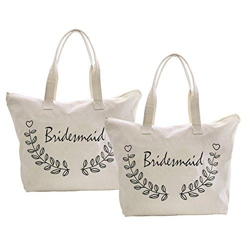 ElegantPark Birde Naturale Tela 100% Cotone Cerniera Lampo Tote donne della spalla Mid borsa Sposa Bridesmaid x 2