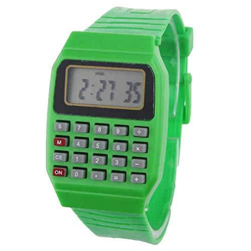 Mode Uhrenarmband, ICHQ Unsex Junge Mädchen Digitaluhr Silikon Mehrzweck Datum Zeit Elektronische Handgelenk Taschenrechner Uhr (Grün)