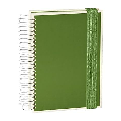 Semikolon Mucho Spiral-Notizbuch mit 3 Liniaturen in irish (dunkel-grün) | 110 linierte Seiten , 110 karierte Seiten, 110 blanko Seiten | Perfekt als Organizer oder Sketch-Book mit gummiband-Verschluss und Folientaschen | Format: 15,7 x 21,7 cm