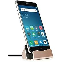 MyGadget USB C Docking Station con Cable 1m y Soporte Base Estación de Carga - Dock Para Samsung S8, LG G5 G6 Huawei P10 Galaxy A3, A5 2017 - Rosa Dorado