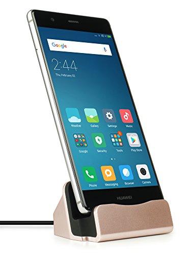 MyGadget Dockingstation Ladestation [USB C] für Android Smartphones - Halterung Dock für z.B. Samsung Galaxy S8, A3, A5 (2017) Huawei P9, P10 - Rosé Gold (Akku Station)