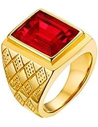 Schmuck & Zubehör Vnox Rot Stein Große Ringe Für Männer Schmuck Gold-farbe Edelstahl Raute Verlobungsringe Um Jeden Preis