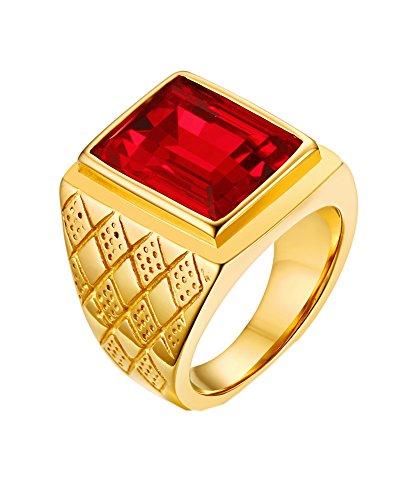 Kostüm Zirkonia Ringe - PMTIER Herren 18K Gold Überzogen Fett gedruckt Edelstahl Ringe mit Rot Stein Größe 62