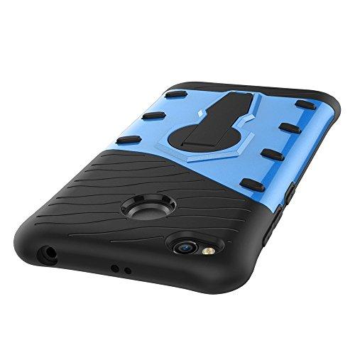 Shock-resistenter 360 Grad Spin Sniper Hybrid Case TPU + PC Kombi-Gehäuse mit Halter für Xiaomi Redmi 4X by diebelleu ( Color : Blue ) Blue