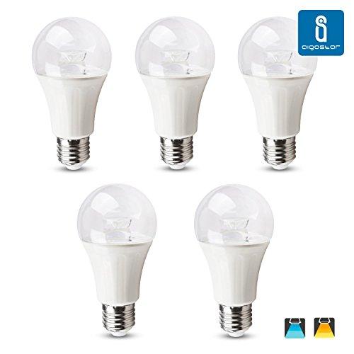 Aigostar 182342 - Pack de 5 Bombillas LED A60 big angle, 10W, casquillo gordo E27, 750 lumen, luz calida 3000K