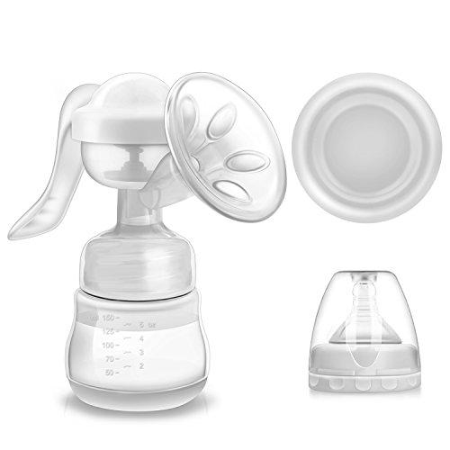 Milchpumpe, Miuphro Brustpumpen Komfort Brust Milch Handpumpe Silikon Stillen mit Naturnah-Flasche,...