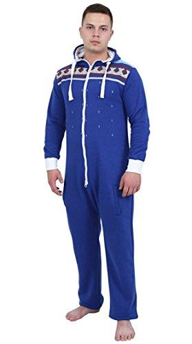 Juicy Trendz Herren Kapuzenjacke Hoody Strampelanzug Körperanzug Jumpsuit Overall, H-aztec-blue, M