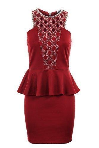 Fantasia Boutique Damen Silber Gold wulstig Diamant ausgeschnitten Schößchen Bleistiftrock Damen Kleid - Rot, 40 (Schößchen-kleid Ausgeschnitten)