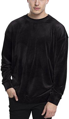 Urban Classics Herren Samt Pullover Velvet Crew Sweater, Samt weiches Crewneck Sweatshirt für Männer - Farbe black, Größe M (Crewneck Jumper Weiches)