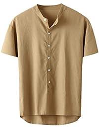 Camisa de Playa de algodón de Lino para Hombre Rabbiter Camisetas de Verano Sueltas de Manga Larga de Color Liso Ocasionales (Amarillo, L)