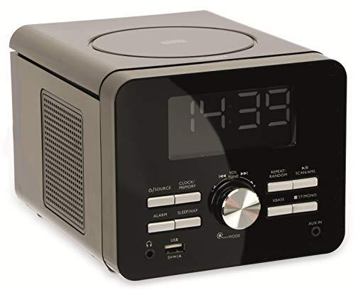 Terris CDR274 CD-Player 2.0 Streaming UKW Uhrenradio Aluminium (Schwarz)
