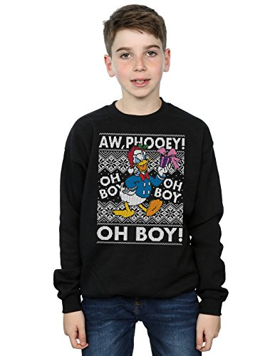 Disney Jungen Donald Duck Christmas Fair Isle Sweatshirt 12-13 years Schwarz (Jungen-fair-isle-pullover)