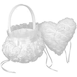 2 piezas cesta y cojín porta alianzas boda romántica