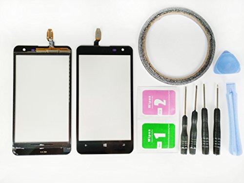 umia 625 N625Glas Bildschirm Display Touchscreen Ersatzteil (Ohne LCD) Für Nokia Lumia 625 N625 schwarz + Werkzeuge & doppelseitigen Kleber + Alkohol Reiniger Paket ()
