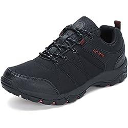 Dannto Zapatos Botas de Senderismo para Hombre Zapatos de Low Rise Trekking Ocio al Aire Libre y Deportes Zapatillas de Running(Negro,43)