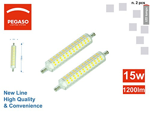 Set von 2Lampen LED R7S 15W 1200Lumen Pegaso, natürliches Licht 4000K Slim Version (1200 Natürliche)