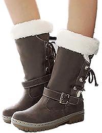 8588ce61d Botas de Nieve Invierno Mujer Pelo Forrada Calentar Cuero Planos Rodilla  Altas Ante Piel Tacón Al