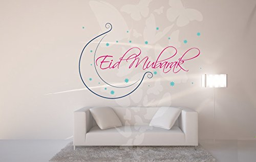 Asmi Collections PVC Wall Stickers Eid Mubarak