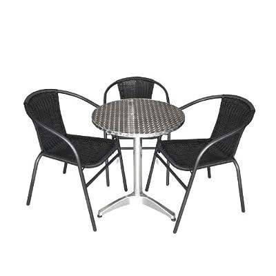 4tlg. Gartengarnitur Balkonmöbel Terrassenmöbel Set Sitzgruppe Poly-Rattan Stapelstuhl Aluminium Bistrotisch Ø60cm