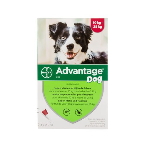 Advantage 250 (perros 10 – 25 kg) – 4 pipetas de 2,5 ml