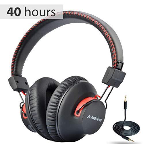 Avantree 40 Stunden aptX Wireless Wired Bluetooth Kopfhörer Over-Ear mit Mikrofon, Hi-Fi Funkkopfhörer Headset, Extra Komfortable und LEICHT, NFC, DUAL Mode - Audition [2 Jahre Garantie]