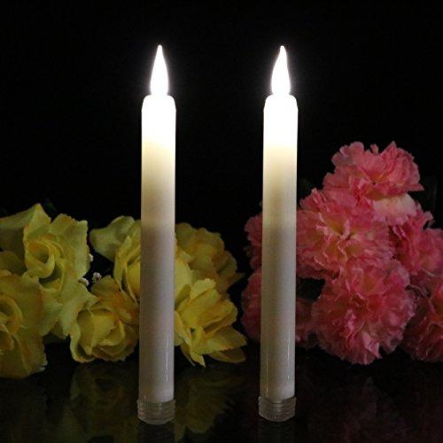 2 LED Taper velas parpadeo llama, 23 cm de altura, Iglesia de la cena candelabros blanco cálido con temporizador por pk verde