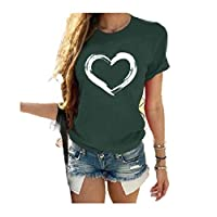 DUe Women Blouse Round Neck Short-Sleeve Casual Loose Plus Size T-Shirt Blackish Green XL