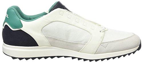 Diesel Fleett, Sneaker Basse Uomo Bianco (Dirty White/green Greenlake)