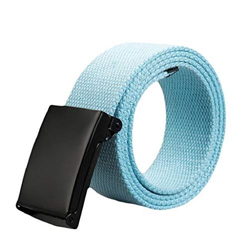 Cinturón Táctico Militar Hombre 2019 Nuevo SHOBDW Lona Cinturón Automática Hebilla Plástica Nylon Cinturón Hombre Trabajo Unisex Cinturón Mujer Elastico Trenzado 110CM(Cielo Azul)