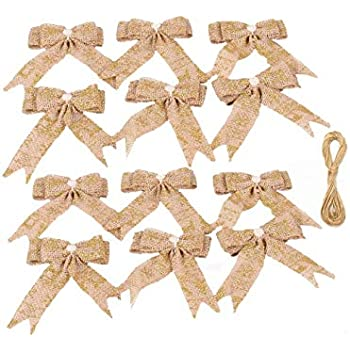 Nature/&Xmas Aokbean Mixed 12pcs Rustic Burlap Bowknot with Snowflake Hat Wedding//Party Decoration Christmas Tree Toppers//Hangs DIY Craft Accessories