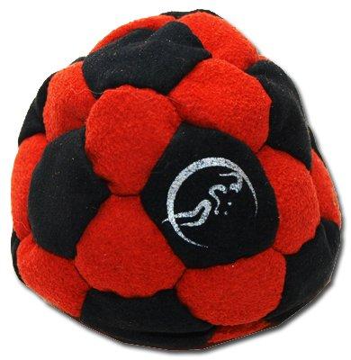Pro Hacky Sack 32 Paneelen (Schwarz/Rot) Profi Freestyle Footbag! Hacky Sack für Anfänger und Profis, ideal für Stände, Fänge, Verzögerungen u. Tritte! -