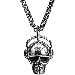 FORFOX Collar Acero titanio, punk, unisex, tono plateado