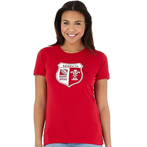 Canterbury Rugby World Cup Damen WRU Wales Shield T-Shirt Flag Red (UK 14 Euro 40 Bust 38