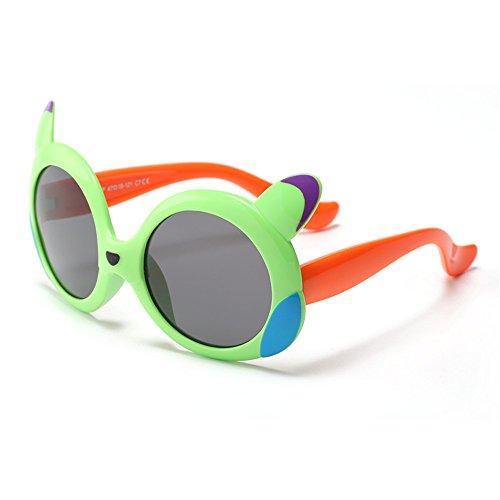 Yiph-Sunglass Sonnenbrillen Mode Cartoon Design Kids Sonnenbrille Flexible Silica Gel Rahmen Polarisierte Gläser UV400 Schutz Mädchen und Jungen Alter 3 bis 12 mit Geschenkbox (Farbe : Grün)