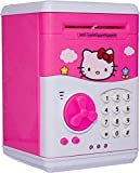 #6: Kajal Toys Hello Kitty Bank ATM with Special Electronic Code(Password)/Battery Operated/ Keypad Lock with Changeable Password/ Safe Way to Keep Money/Light and Sound Coin Bank Coin Bank (Pink)