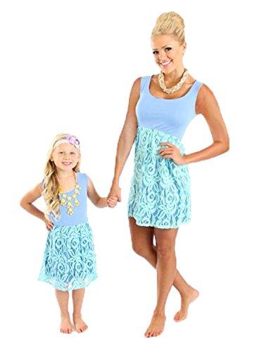 Minetom Mütter und Tochter Familie Sommerkleid Boho Ärmellose Kleider Weste A Linie Spitze Nähen Farbe Rock Strandkleid Blau 110 (Mädchen) (Kleidung Renaissance)