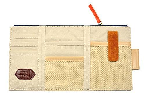 iSuperb® Auto Sonnenblende Tasche Sonnenschutz Sonnenblendentasche Organiser Leinwand Aufbewahrung Tasche für Handys Visitenkarten Scheckkarten Parkscheine (Beige)