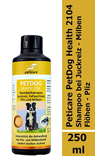 Peticare Hunde-Shampoo gegen Juckreiz, Milben, Pilz, Flöhe - Milbenshampoo entfernt auch Larven, Eier, Sporen, unangenehmen Geruch beim Hund, pflanzliche Inhaltsstoffe - petDog Health 2104