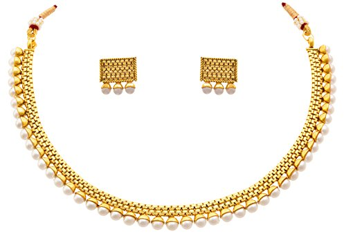Jfl - Jewellery For Less Traditional Ethnic One Gram Gold Plated White Pearls Necklace Set / Jewellery Set For Women