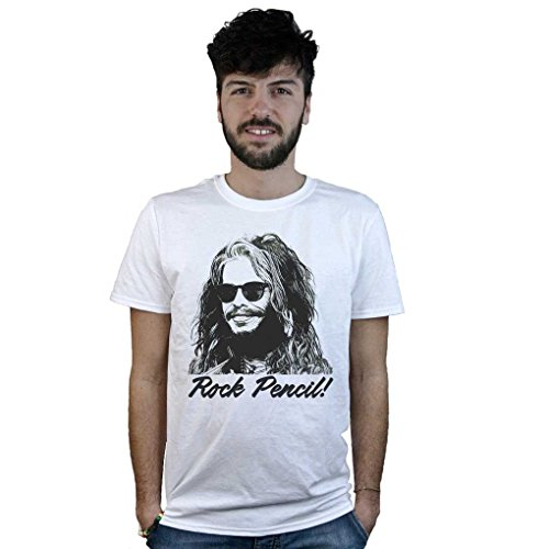 T-Shirt Aerosmith Rock Pencil, maglietta bianca Disegno Steven Tyler, Musica