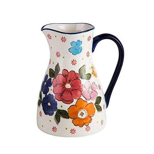 LNTE Mit Deckel Keramikkrug 2L Europäische Art Hochtemperaturbeständigkeit Hohe Kapazität Saft Getränkekaraffe Ideal für Milch Eiskaltes Wasser Heiße Kaffeevase/Wasserkanne (Vintage Milch-krug)