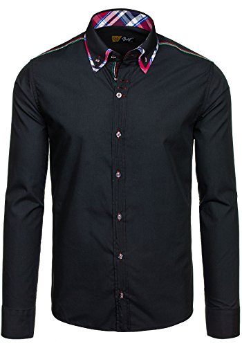 BOLF – Chemise casual – avec manches longues – BOLF 3701 – Homme Noir