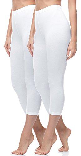 Merry Style Damen Leggings 3/4 2 Pack MS10-144 (Weiß/Weiß, S (Herstellergröße: 36))