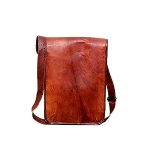 13 Zoll Vintage Crossbody echtes Leder Messenger Bag FULL FLAP Laptop-Tasche umweltfreundlich