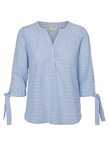 VERO MODA Damen Bluse Vmdot 3/4 Midi Top Dnm A, Blau (Snow White Stripes:Blue and Dobby Dots), S (Langarm-dobby Stripe Shirt)