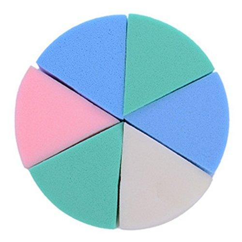 Natürliches Druck Wesentliches Geschnittene Dreieck Fan Powder Sponge Puff weiche Puderquasten bilden kosmetische Gesichtsreinigung Peeling-Schwamm Puff 6 Stück - Natürliche Kosmetische Schwamm