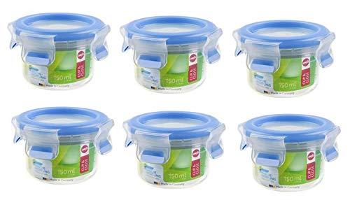 Emsa 6er Set Runde Frischhaltedose mit Deckel, 0.15 Liter, Transparent/Blau, Clip & Close 508550 x 6
