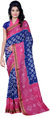 Star Saree Mall Georgette Saree (Saree-Blue-Pink(Bandhani)_Blue)